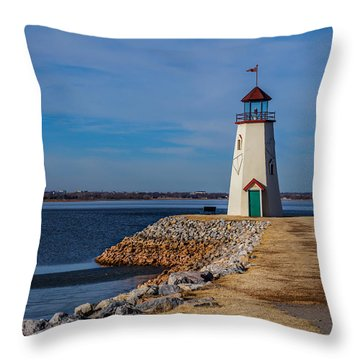 Lighthouse At East Wharf Throw Pillow