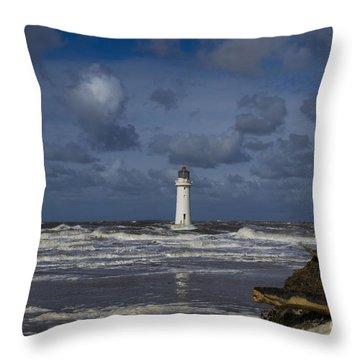 lighthouse at New Brighton Throw Pillow