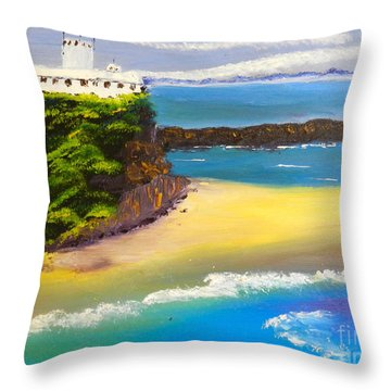 Throw Pillow featuring the painting Lighthouse At Nobbys Beach Newcastle Australia by Pamela  Meredith