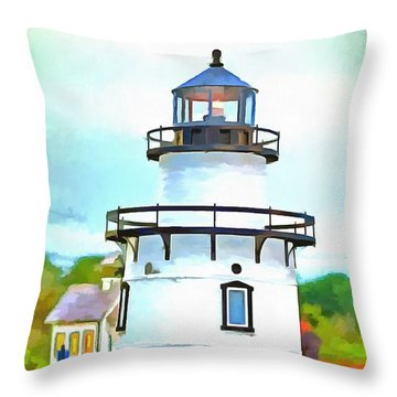 Throw Pillow featuring the photograph Lighthouse At Old Saybrook Point by Edward Fielding