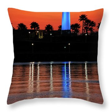 Lighthouse At Queensway Bay Throw Pillow by Mariola Bitner