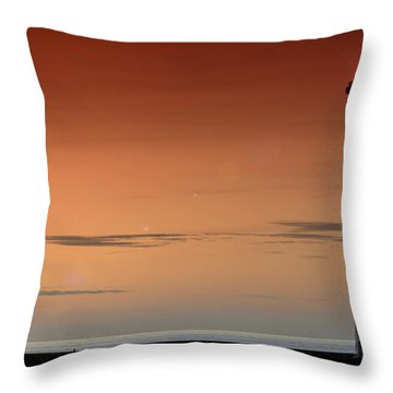 Throw Pillow featuring the photograph Lighthouse At Sunrise by Julis Simo