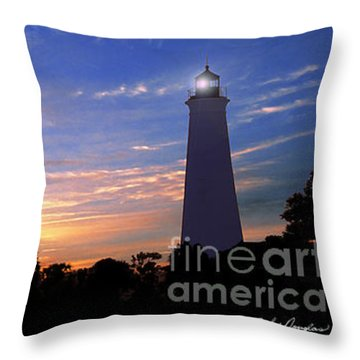 Lighthouse At Sunset Throw Pillow