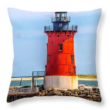 Lighthouse At The Delaware Breakwater Throw Pillow