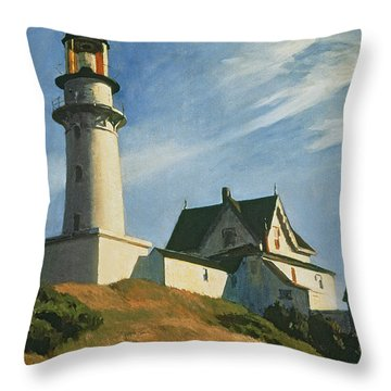 Lighthouse At Two Lights Throw Pillow by Edward Hopper