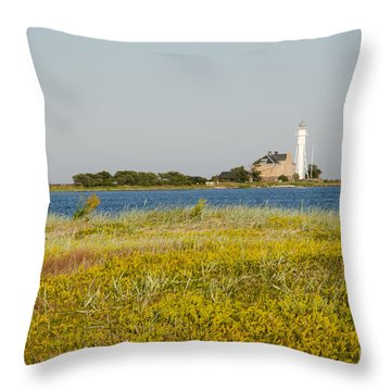 Lighthouse At Yellow Coast Throw Pillow