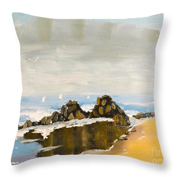 Lighthouse Beach Throw Pillow