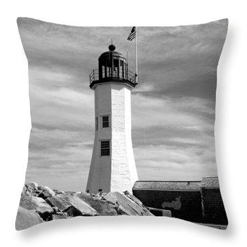 Lighthouse Black And White Throw Pillow