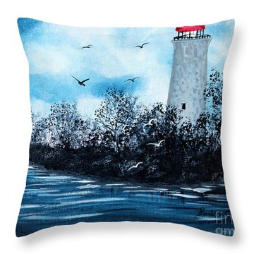 Lighthouse Blues Throw Pillow by Barbara Griffin