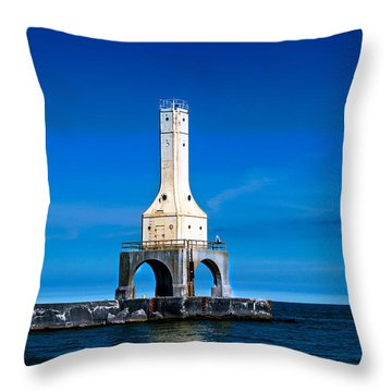 Lighthouse Blues Throw Pillow