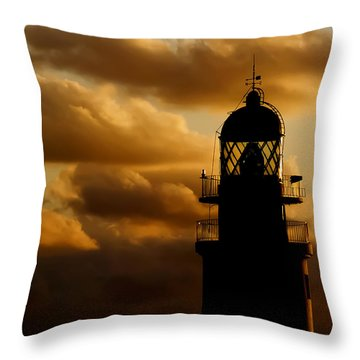 lighthouse dawn in the north coast of Menorca Throw Pillow