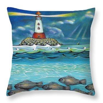 Lighthouse Fish 030414 Throw Pillow