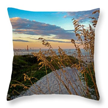 Lighthouse Folly Beach Throw Pillow by Will Burlingham