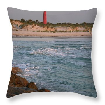Lighthouse From The Jetty 2 Throw Pillow