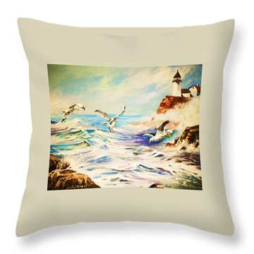 Lighthouse Gulls And Waves Throw Pillow by Al Brown