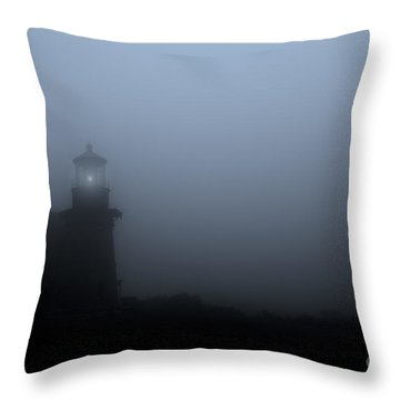 Lighthouse In Fog Throw Pillow by Diane Diederich