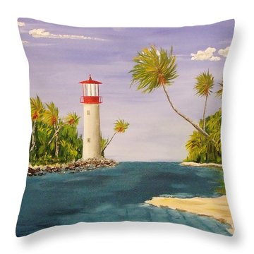 Lighthouse In The Tropics Throw Pillow