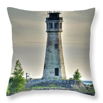 Lighthouse Just Before Sunset At Erie Basin Marina Throw Pillow