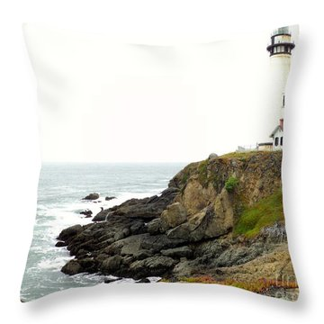 Lighthouse Keeping Watch Throw Pillow by Carla Carson