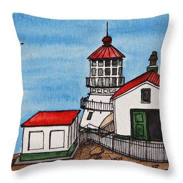Lighthouse Throw Pillow by Masha Batkova