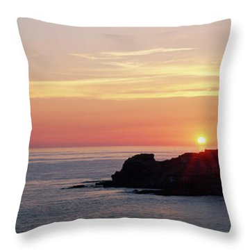 Lighthouse On An Island In Atlantic Throw Pillow