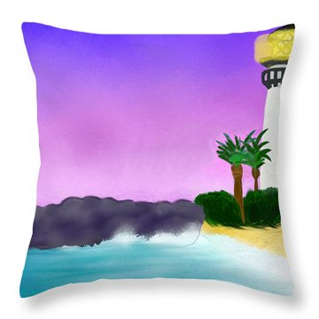 Lighthouse On Beach Throw Pillow