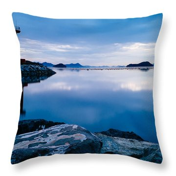 Lighthouse On Blue Throw Pillow