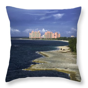 Lighthouse On Colonial Beach With Atlantis Paradise Resort Bahamas Throw Pillow