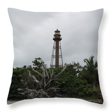 Throw Pillow featuring the photograph Lighthouse On Sanibel Island by Christiane Schulze Art And Photography