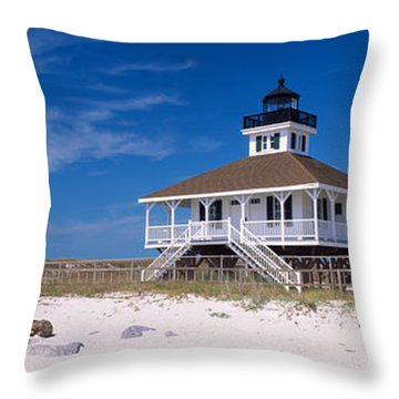 Lighthouse On The Beach, Port Boca Throw Pillow