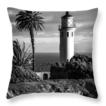 Throw Pillow featuring the photograph Lighthouse On The Bluff by Jerry Cowart