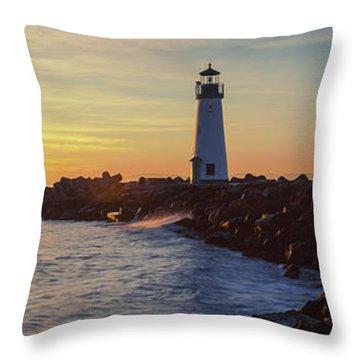 Lighthouse On The Coast At Dusk, Walton Throw Pillow