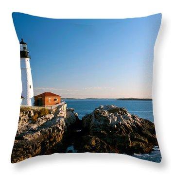Lighthouse On The Coast, Portland Head Throw Pillow