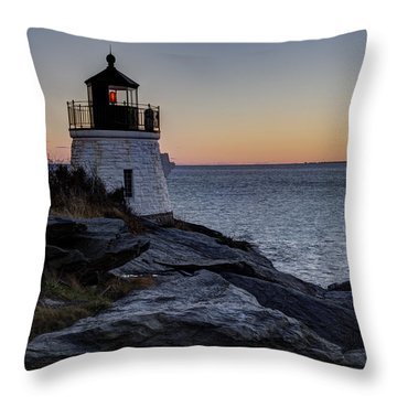 Lighthouse On The Rocks At Castle Hill Throw Pillow