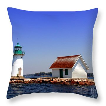 Lighthouse On The St Lawrence River Throw Pillow by Olivier Le Queinec