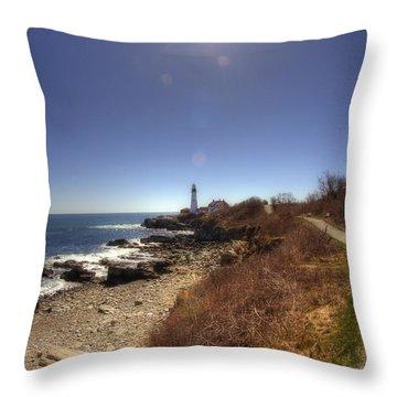 Lighthouse Path Throw Pillow by Joann Vitali