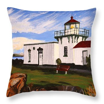 Lighthouse Point No Point Throw Pillow by Vicki Maheu