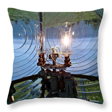 Throw Pillow featuring the photograph Lighthouse Prism And Light by Nick Kloepping