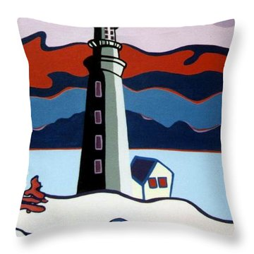 Lighthouse Red Sky Throw Pillow