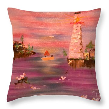 Throw Pillow featuring the painting Lighthouse Serenade by Denise Tomasura