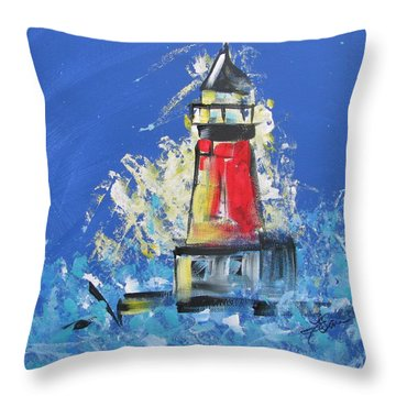 Lighthouse Splash Throw Pillow