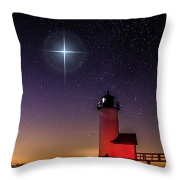 Throw Pillow featuring the photograph Lighthouse Star To Wish On by Jeff Folger