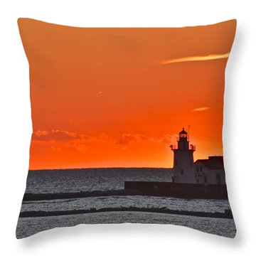 Lighthouse Sunset Throw Pillow by Frozen in Time Fine Art Photography