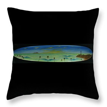 Lighthouse Surfers Cove Throw Pillow