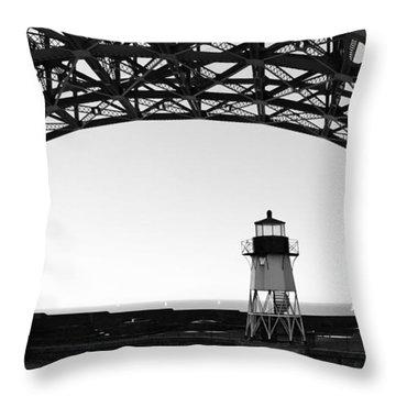 Lighthouse Under Golden Gate Throw Pillow by Holly Blunkall