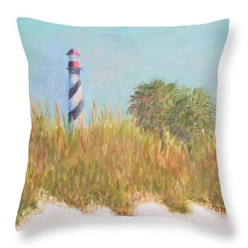 Lighthouse View From St. Augustine Beach Throw Pillow