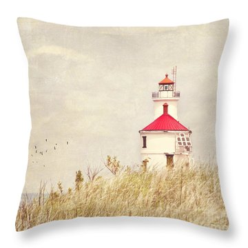 Lighthouse With Red Roof Throw Pillow