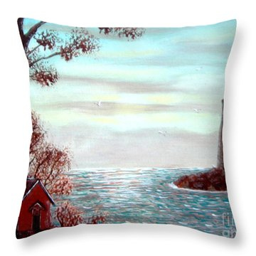 Lighthousekeepers Home Throw Pillow by Barbara Griffin