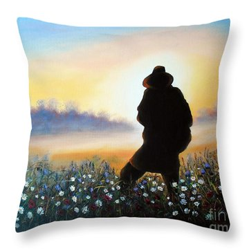 Throw Pillow featuring the painting Lighthunter by Vesna Martinjak