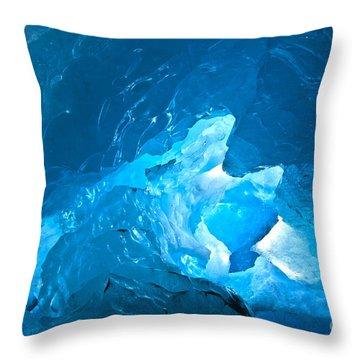 Lighting In Nigardsbreen Glacier Grotto 3 Throw Pillow by Heiko Koehrer-Wagner